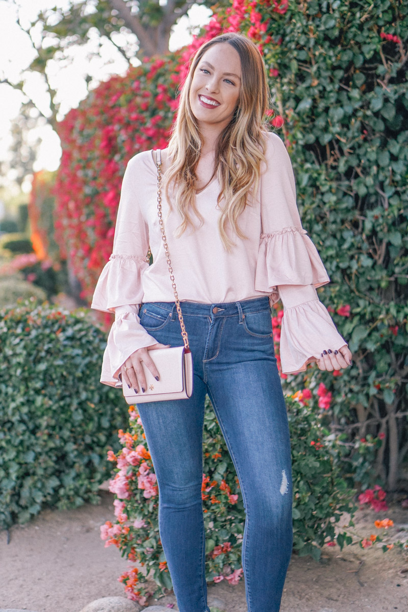 Pink Ruffle Sleeve Satin Blouse