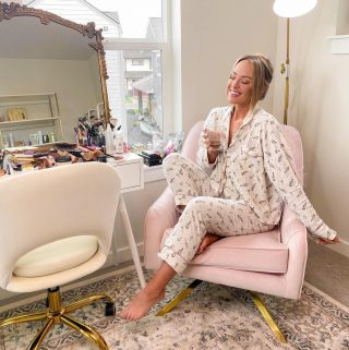 Rainy cozy morning this morning called for a little extra time in my wine pjs 🍷🍷🍷 🤍 peep the unorganized mess that is my vanity 😳 have been saying I'll organize it for months now 😉 linking pjs & my office decor! #homeoffice http://liketk.it/3fJzO #liketkit @liketoknow.it