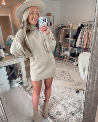 Friday night outfit ✌🏻 jk I'm in bed watching YouTube videos on how to DIY a gold mirror - found a steal of a mirror today but wanting to spruce it up a bit 😜 come help me on stories & lmk what you gals think! reminder to use code TAYLORLOVE for 20% off @princesspollyboutique fits - including this adorable sweater dress 🤍 sized up! #diy #fridayoutfit #sweaterdress #neutralstyle #neutraloutfit