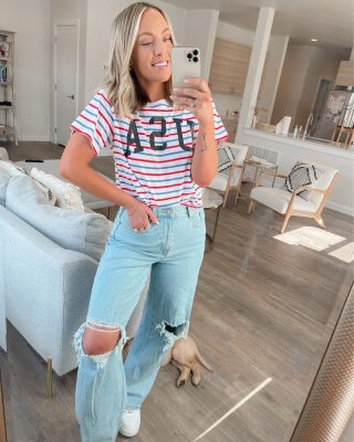 4th of July outfit ideas are happening on my story! ❤️ I love to keep it casual & festive on the 4th & linked everything I found, all from target for the best prices. these jeans are the real hero, I couldn't find them online yet but they're in stores and soooo good 🤍👏🏻👏🏻 swipe for a smile 🐶 http://liketk.it/3iyvi #liketkit @liketoknow.it #fourthofjuly #fourthofjulyoutfits #target #affordablestyle