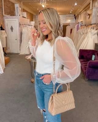 """Second dress fitting today @plumebridal!! 🤍 taking everything opportunity to put together """"bridal looks"""" for these next 20 days because I know I will miss them soon! 🥰 this @revolve blouse is stunning with the puff sleeves and would look really cute for an upcoming bachelorette this fall or girls night out! I also want to style it with a leather skirt 👇🏻#revolveme #liketkit #bridalstyle #weddingseason #bridetobe @shop.ltk http://liketk.it/3mPPa"""